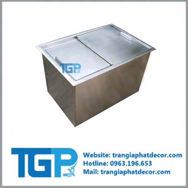 thùng đá Inox âm bàn  - KT: 800x600x400 mm